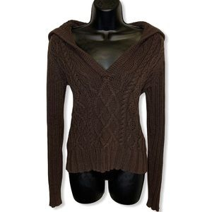 GAP Chocolate Brown Cable Knit V Cut Sweater